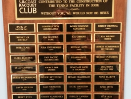 Plaque to thank contributors to the construction of the new tennis facility in 2008